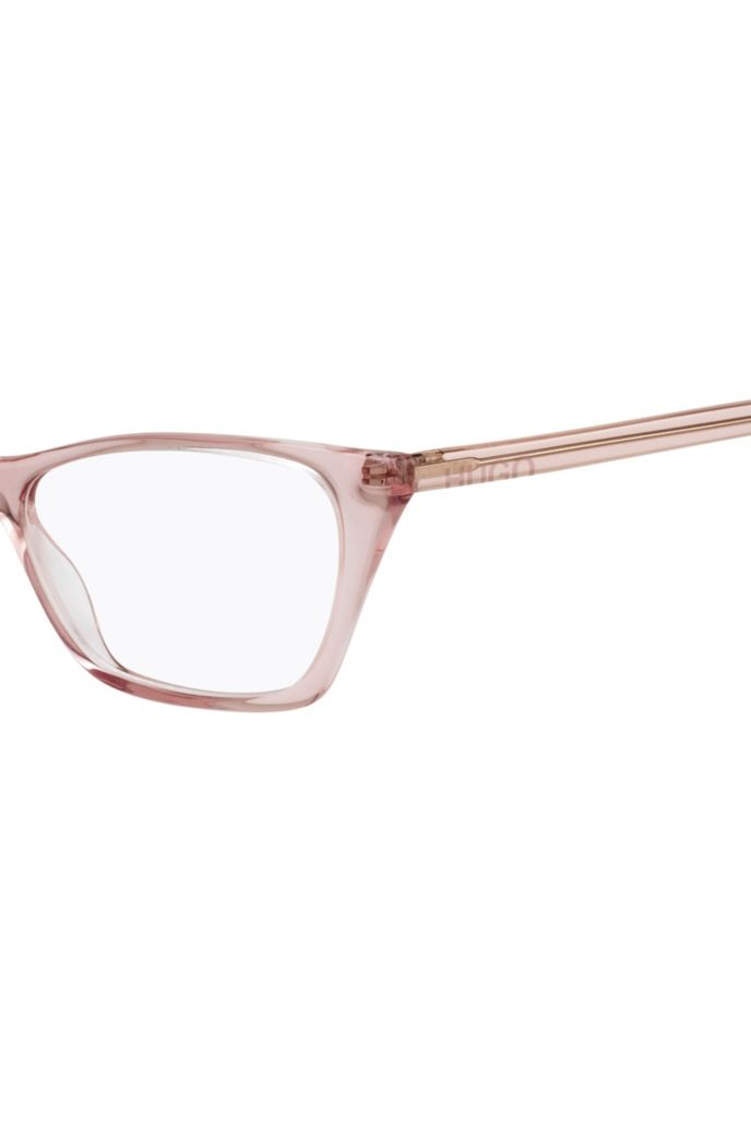 Transparent-acetate optical glasses with cropped logo