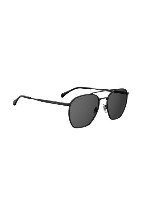 Gafas de sol de doble puente con montura en estilo Windsor, Negro