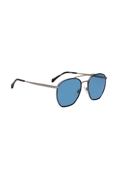 Windsor-rim sunglasses with 3D temples and tonal logo, Blue