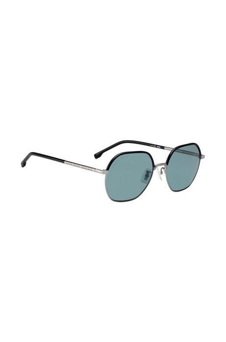 Coloured-lens sunglasses in titanium and acetate, Black