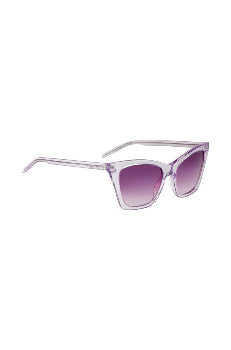 Sunglasses in transparent acetate with cropped logo, Pink