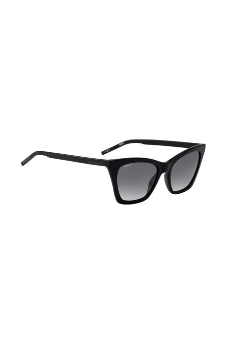 Sunglasses in black acetate with cropped logo, Black