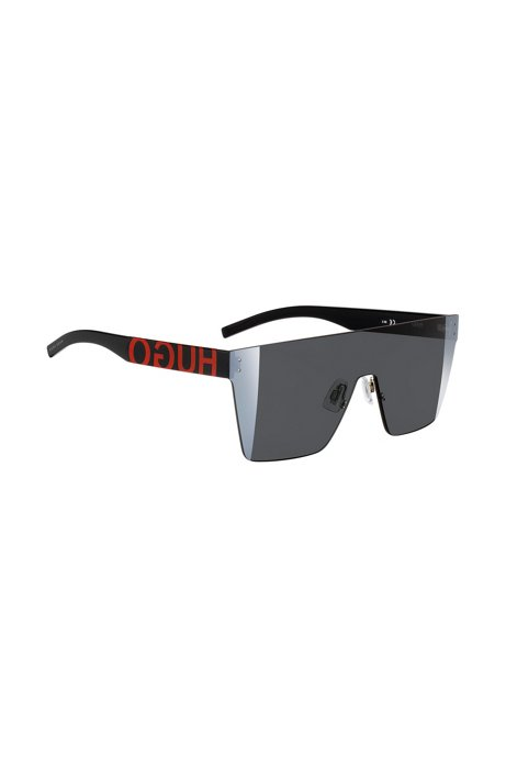 Visor-style sunglasses with statement logos, Black