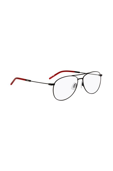 Double-bridge optical glasses with red-acetate end tips, Black