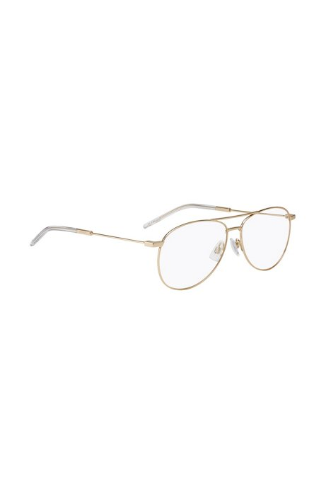 Double-bridge optical glasses in metal with acetate end tips, Gold