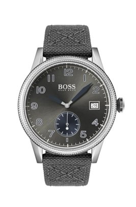 Textured-bezel watch with leather-lined woven strap, Grey