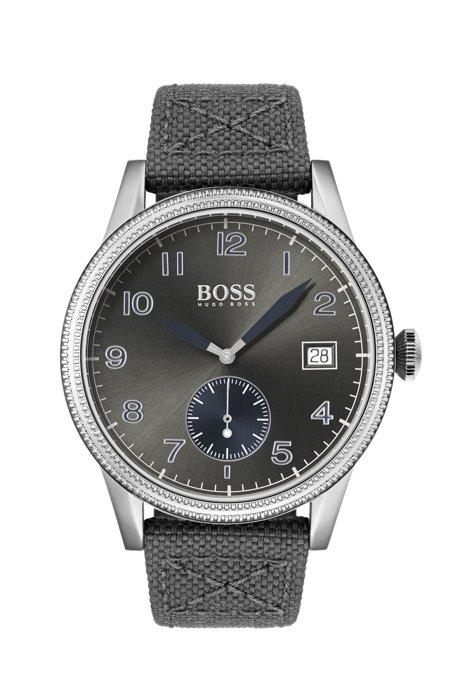 Horloge met getextureerde lunette en een geweven polsband met leren voering, Grijs