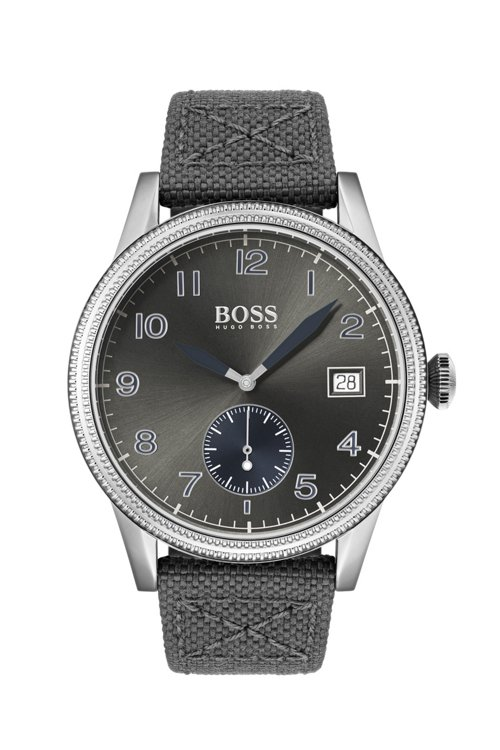 Hugo Boss - Textured-bezel watch with leather-lined woven strap - 1