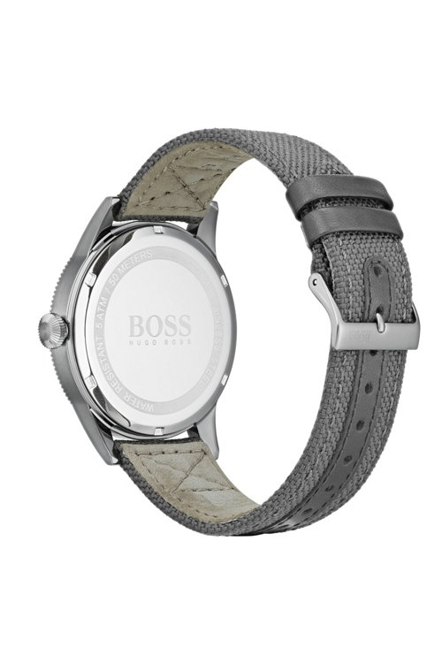 Hugo Boss - Textured-bezel watch with leather-lined woven strap - 2