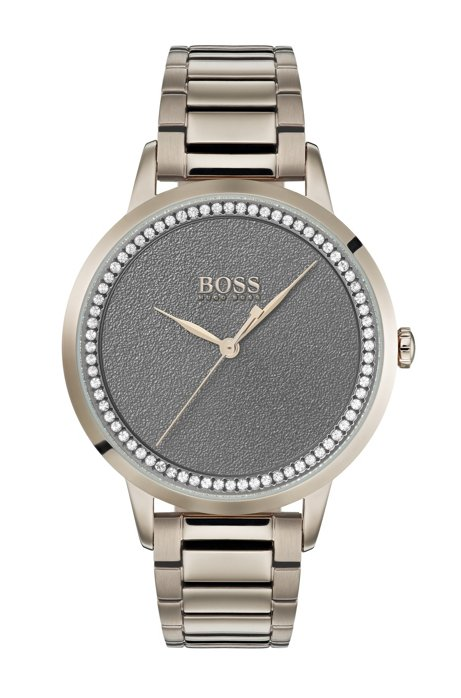 Carnation-gold-plated watch with dark-grey textured dial, Gold