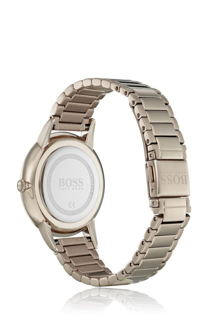 Carnation-gold-plated watch with dark-grey textured dial