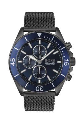 Cronografo placcato grigio con lunetta rotante blu, Blu scuro
