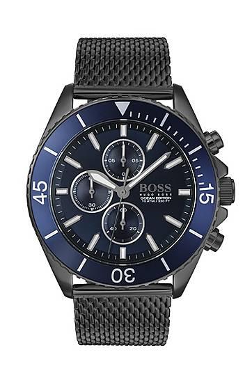 boss  Montre chronographe en acier plaqué gris à lunette rotative bleue... par LeGuide.com Publicité