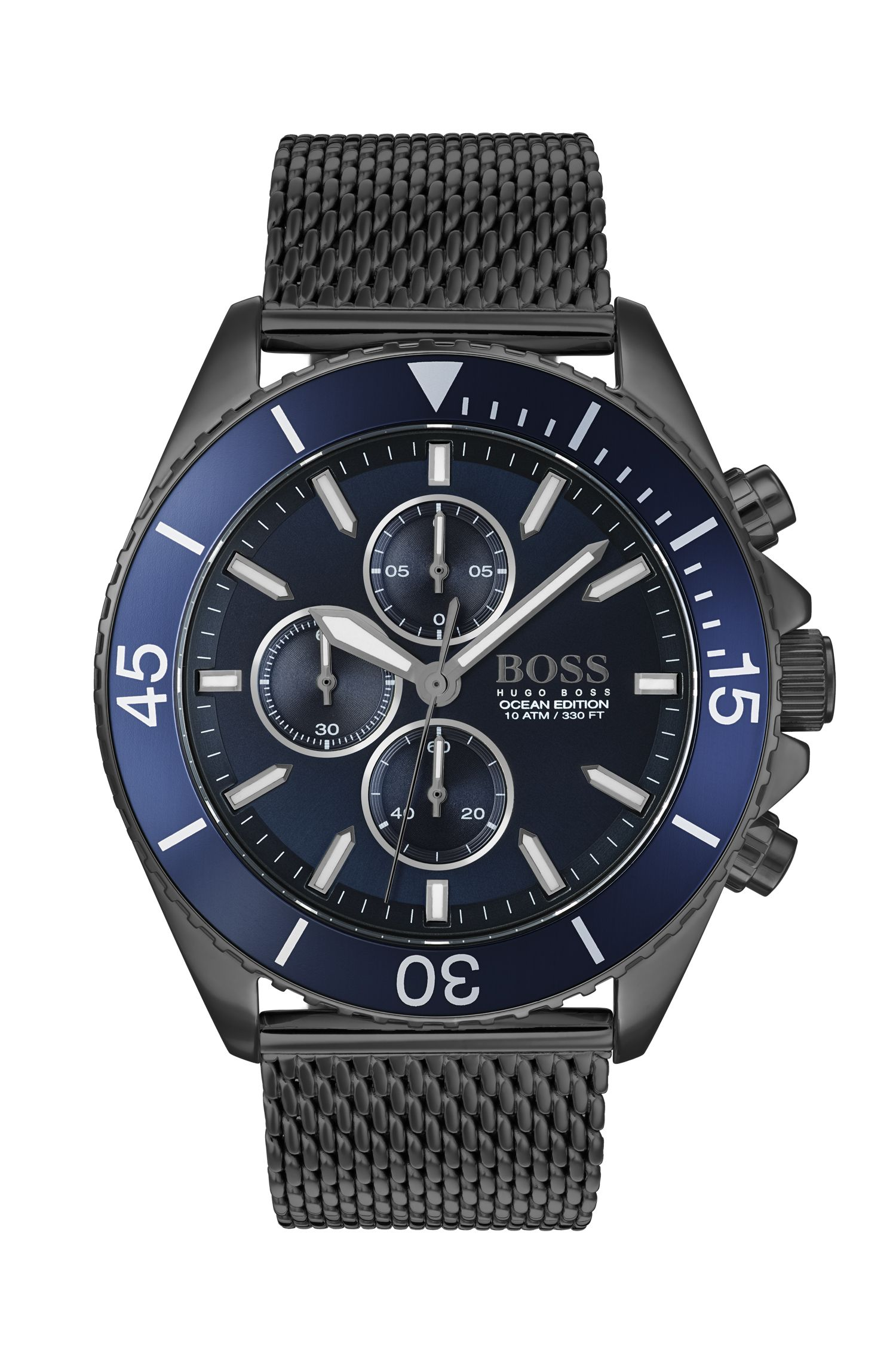 Montre chronographe en acier plaqué gris à lunette rotative bleue, Bleu foncé
