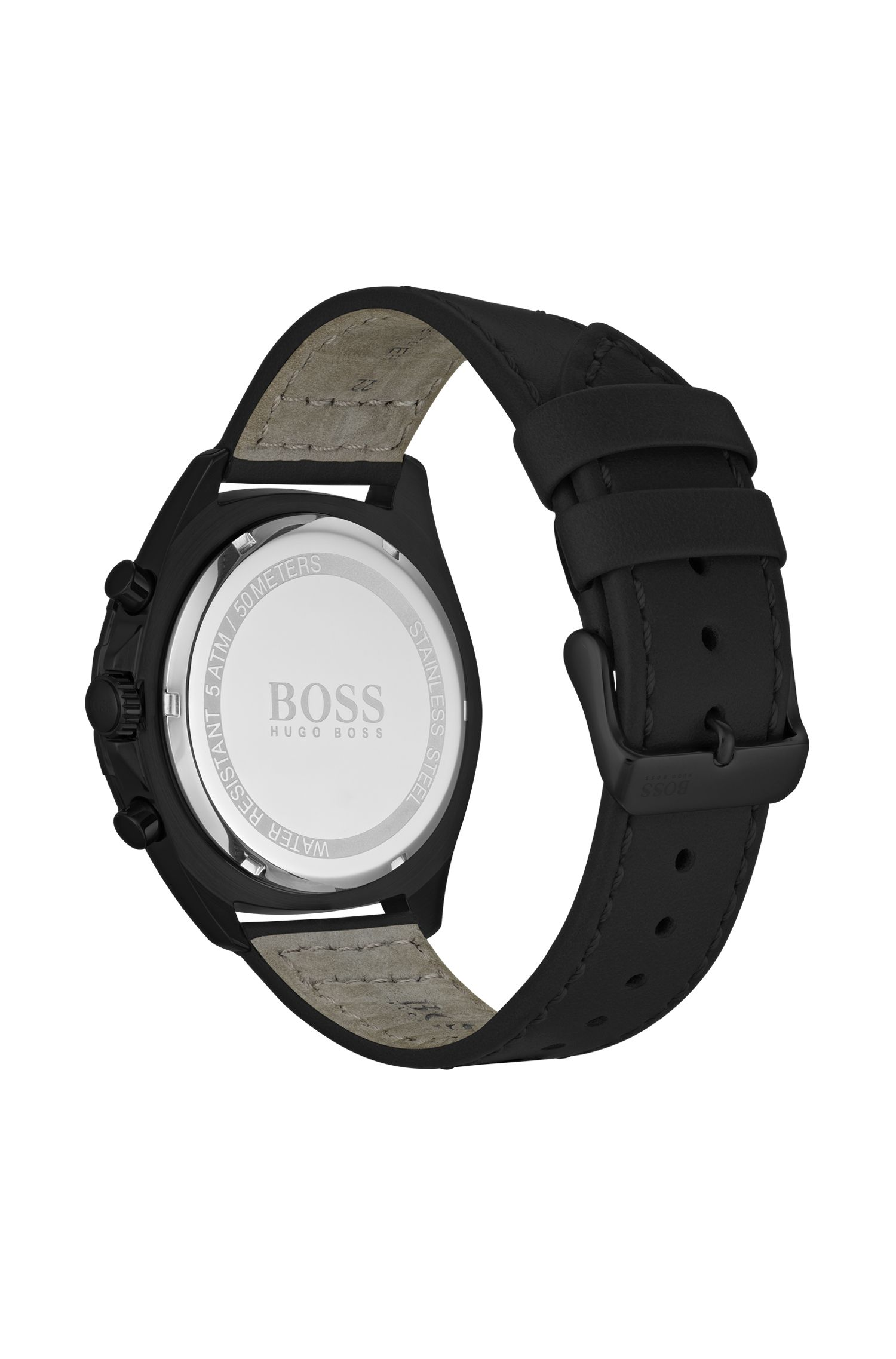 Black-plated watch with black dial and luminescent details, Black