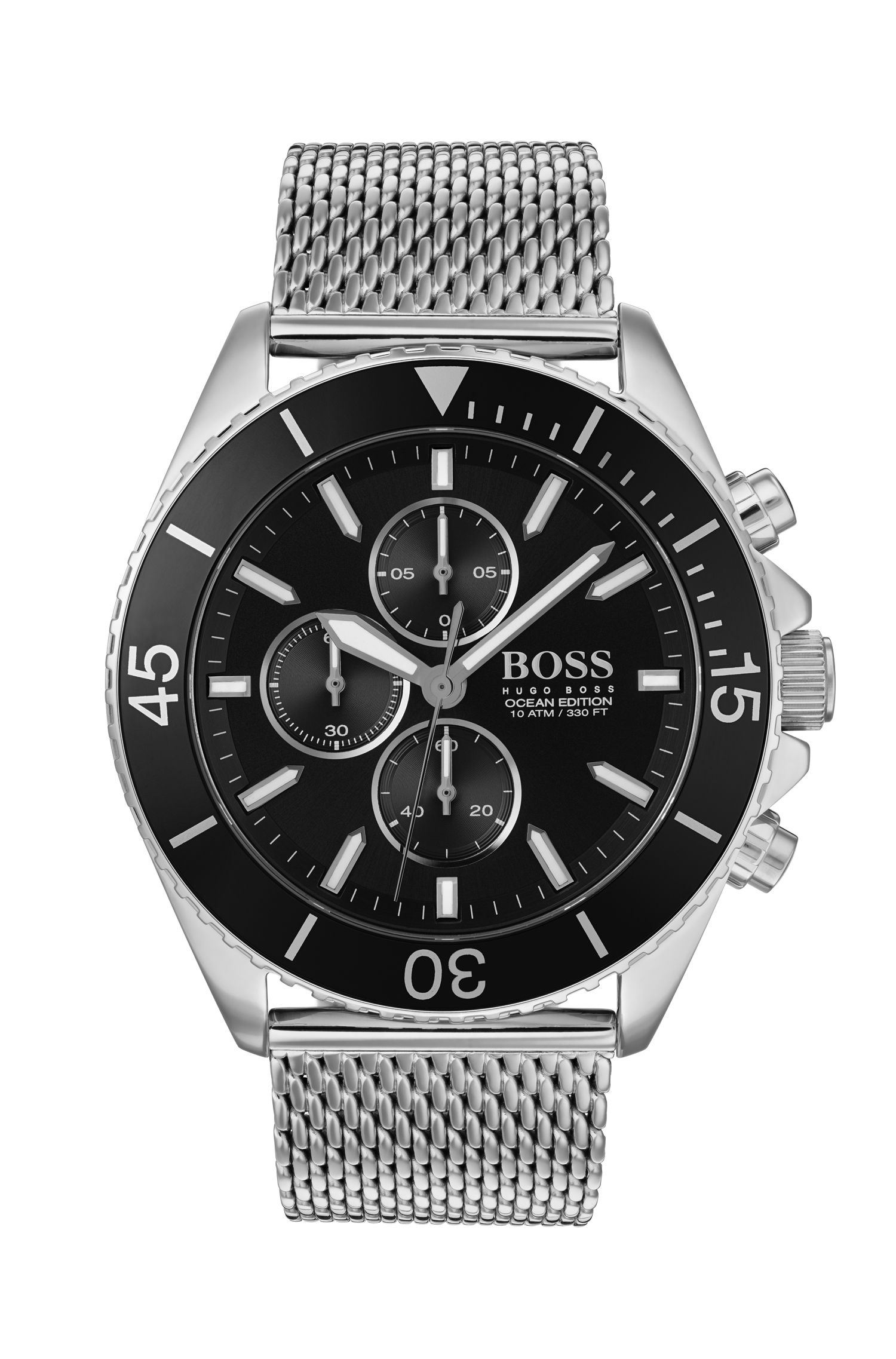 Stainless-steel chronograph watch with rotating bezel and mesh bracelet, Silver