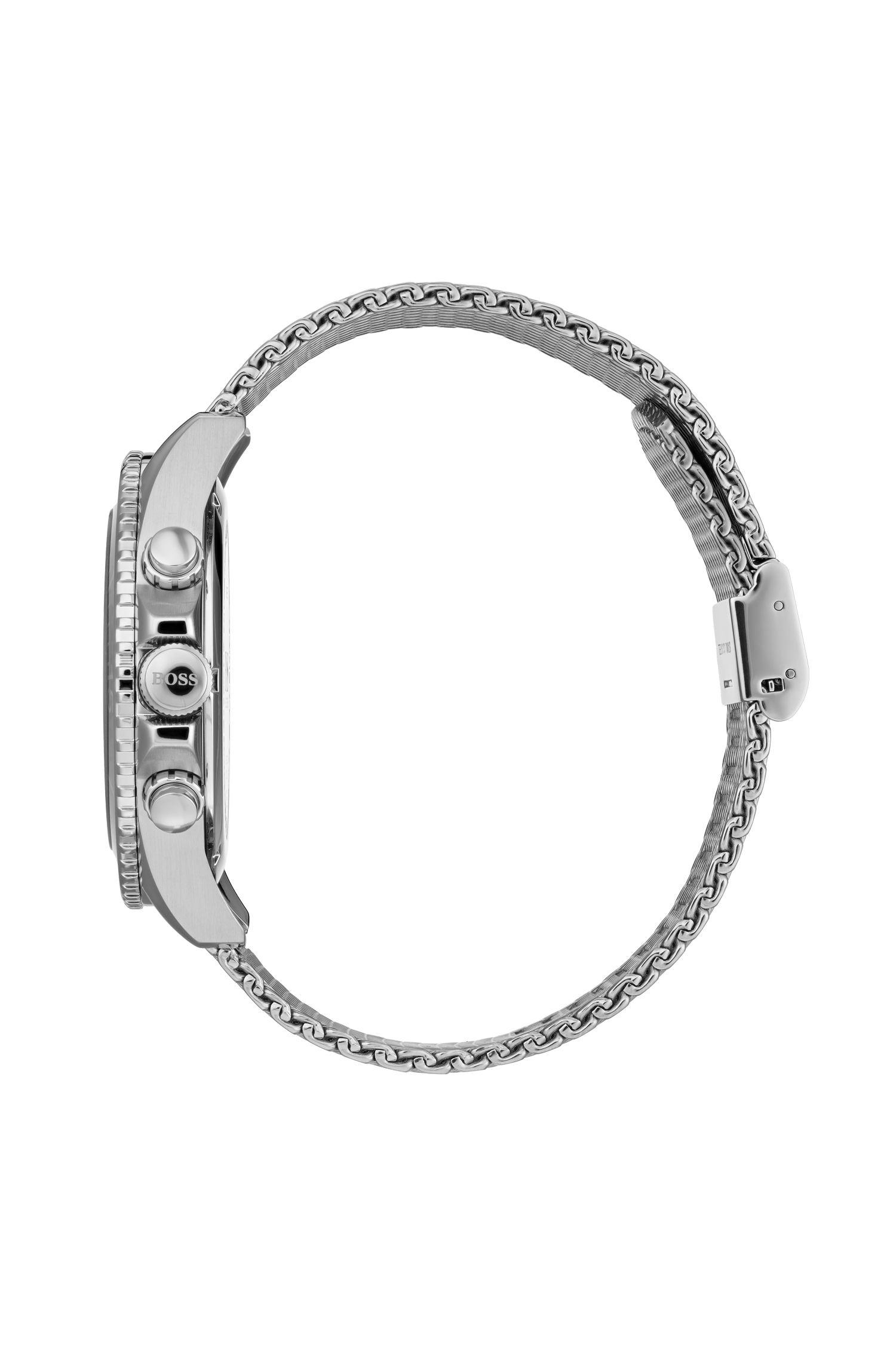 Chronograaf van roestvrij staal met roterende lunette en polsband in meshlook, Zilver