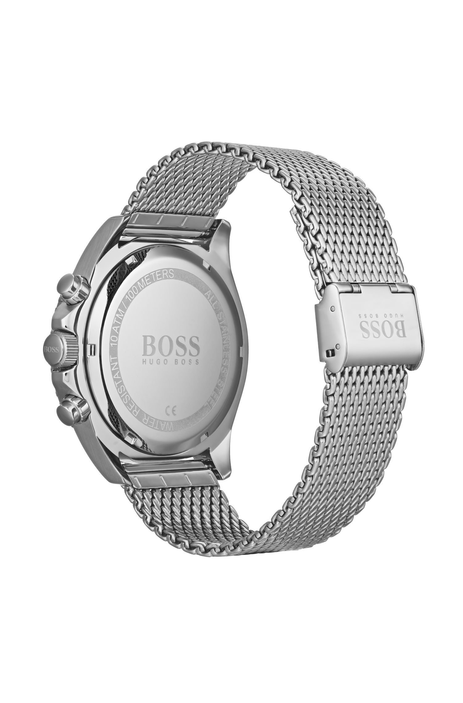 Reloj cronógrafo de acero inoxidable con bisel giratorio y pulsera de malla, Plata