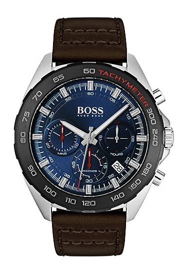 Boss Stainless-steel watch with black tachymeter and brown leather strap