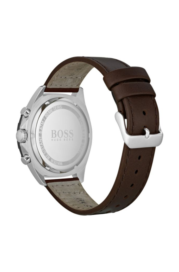 Stainless-steel watch with black tachymeter and brown leather strap