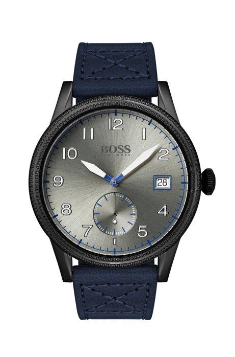 Montre à lunette texturée avec bracelet en cuir italien, Bleu foncé