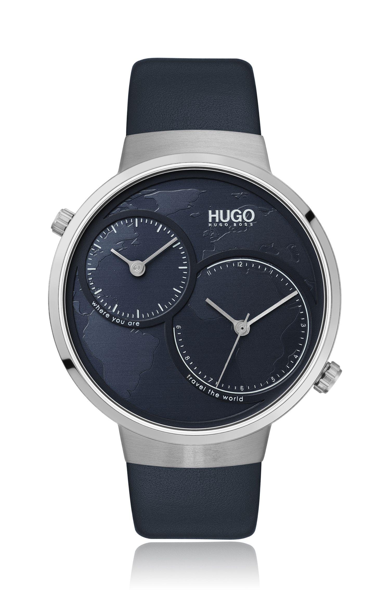 Uhr aus Edelstahl mit zwei Uhrwerken und blauem Weltkarten-Zifferblatt, Dunkelblau