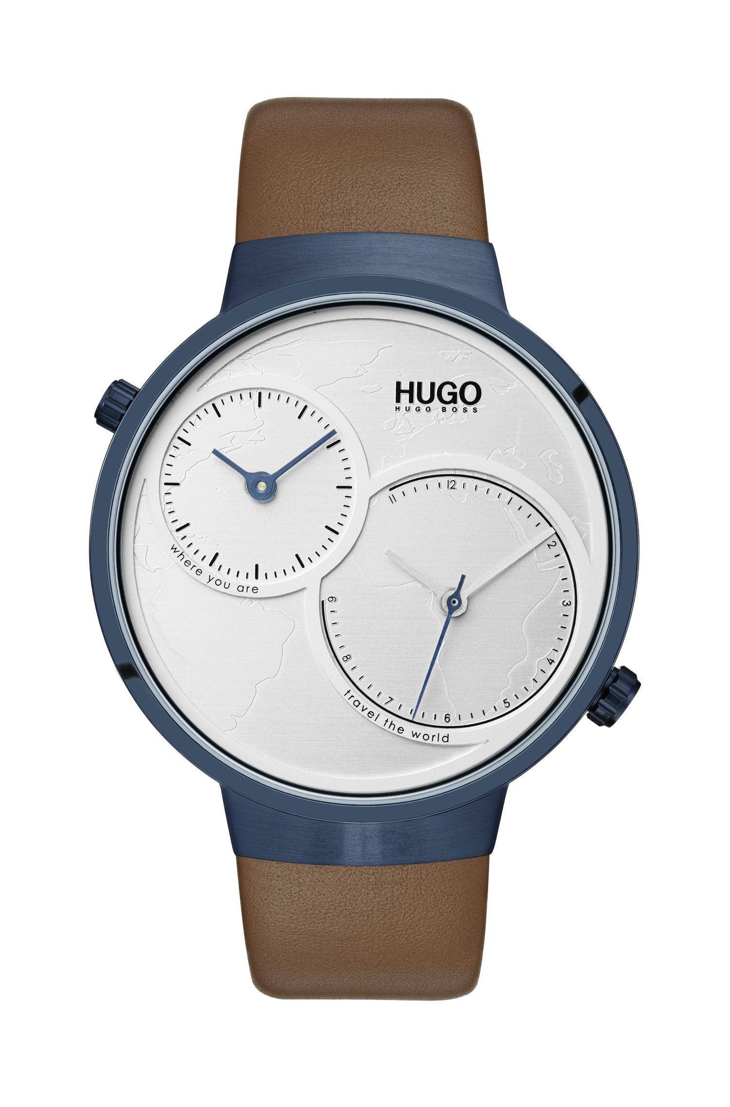 Horloge met dubbel uurwerk, wereldkaart-wijzerplaat en leren polsband, Bruin
