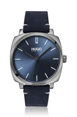 Kussenvormig horloge met blauwe wijzerplaat en leren polsband, Donkerblauw