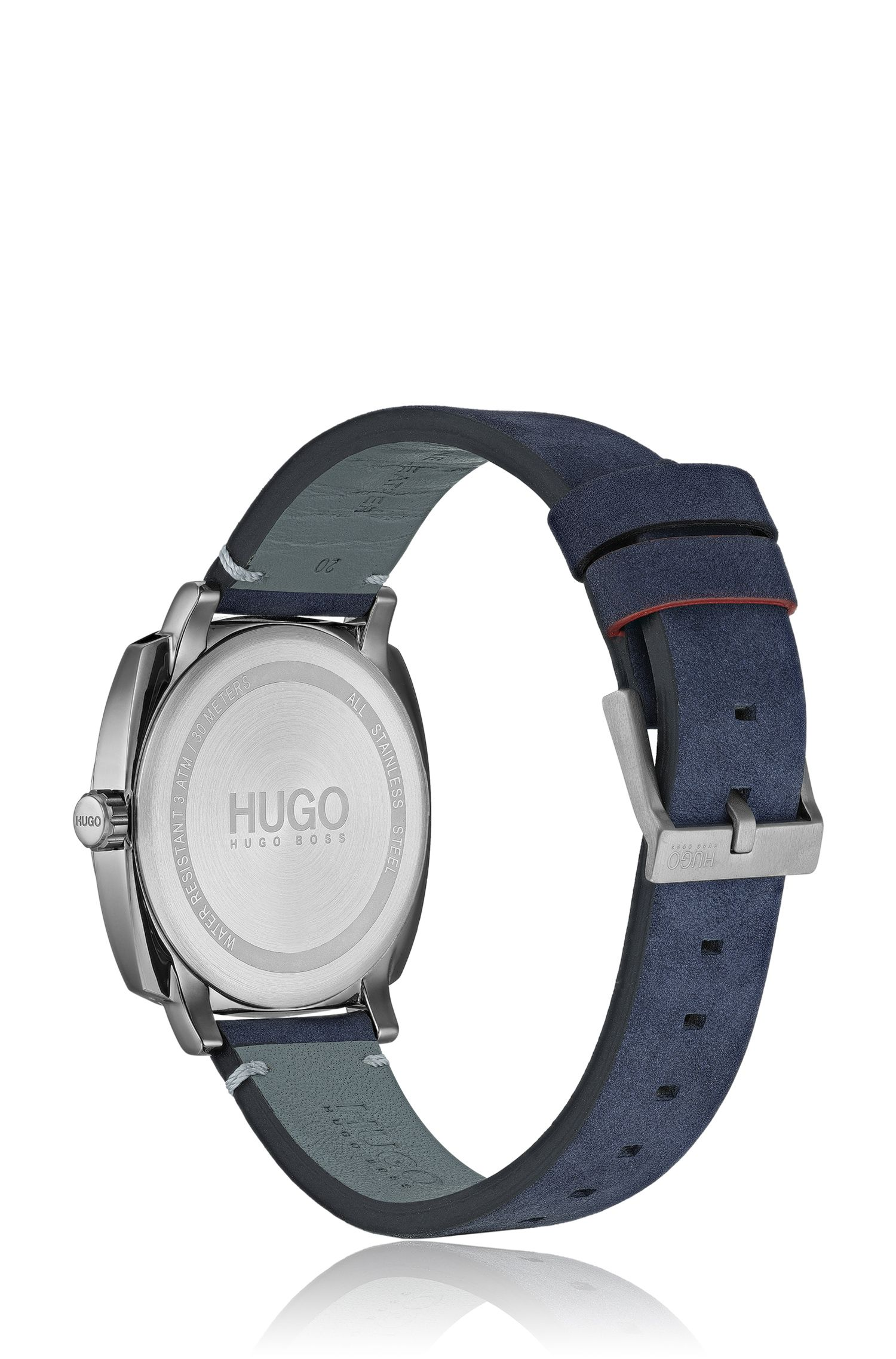 Cushion-shaped watch with blue dial and leather strap, Dark Blue