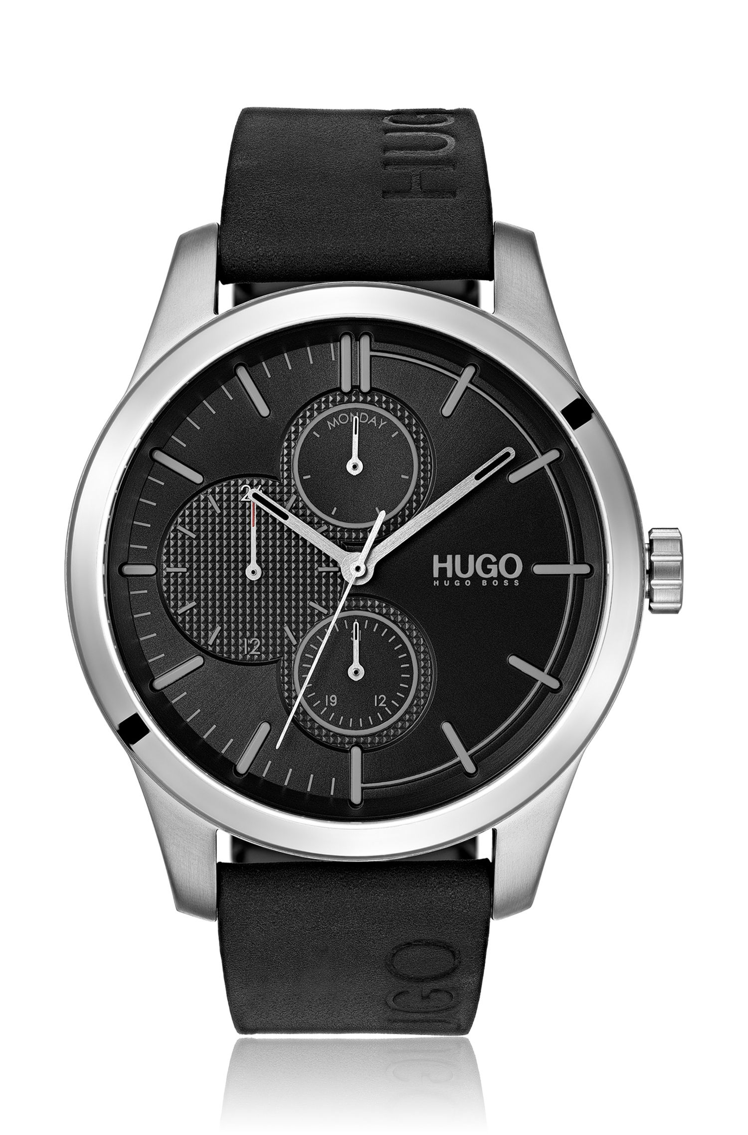 Logo-strap watch with mixed dial textures, Black