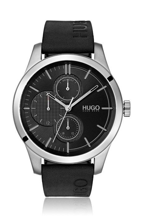Reloj con varios indicadores con logo grabado y correa de piel, Negro