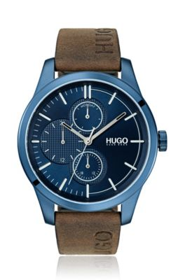 Blue-plated stainless-steel watch with logo strap, Brown