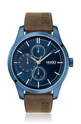 Horloge van blauw gecoat roestvrij staal met logoband