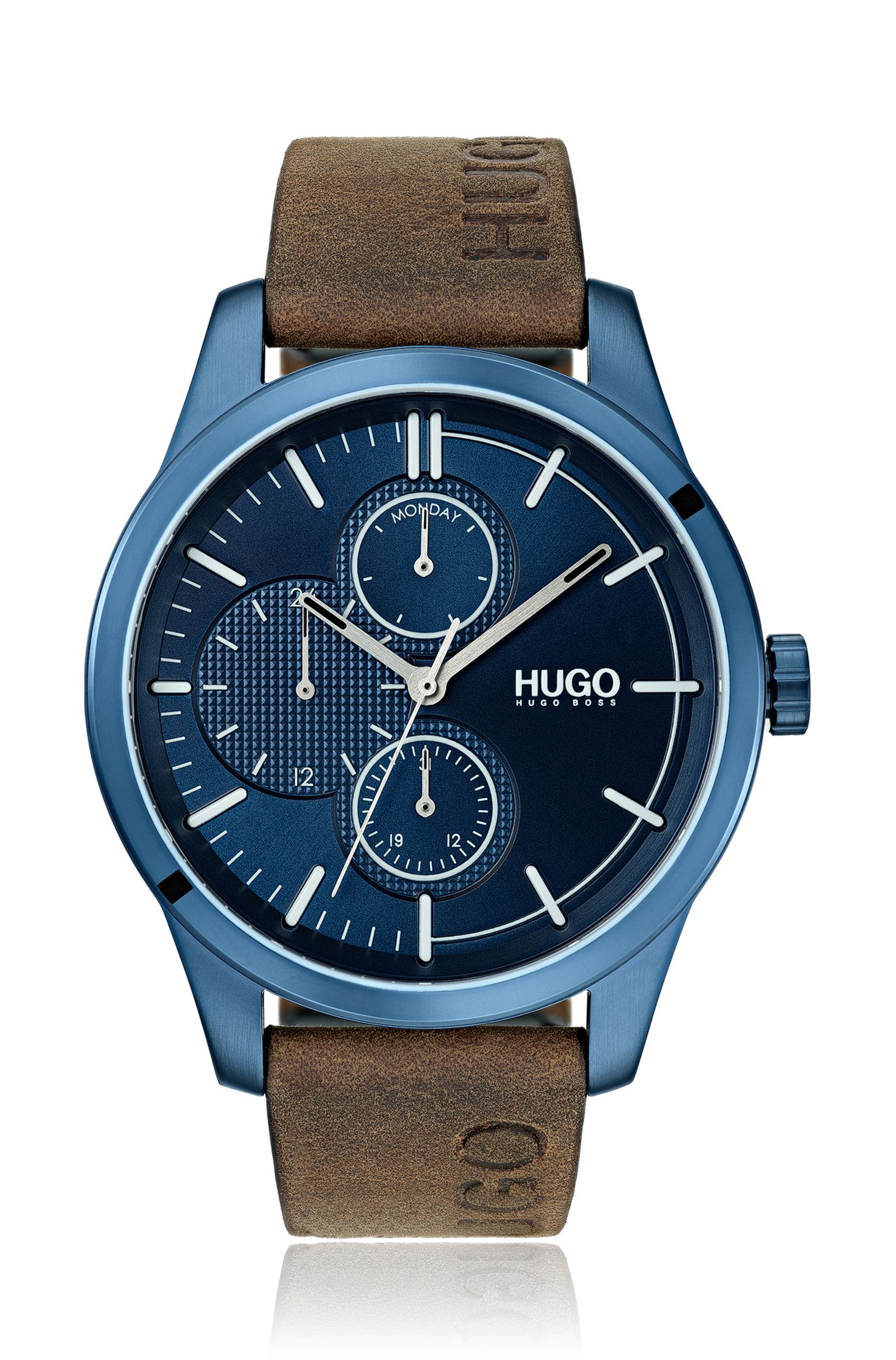 Montre en acier inoxydable plaqué bleu avec bracelet logo, Marron