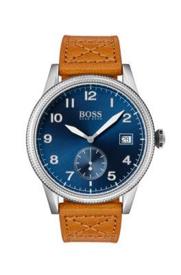 Montre à cadran bleu avec lunette texturée et bracelet en cuir fauve, Marron