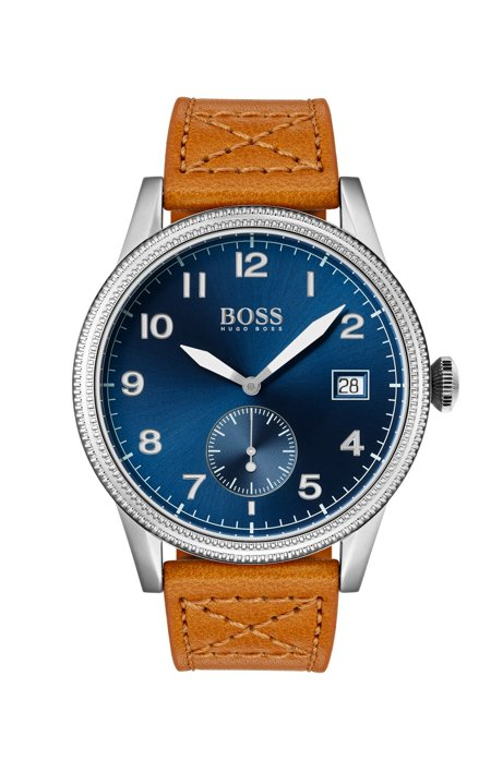 Blue-dial watch with textured bezel and tan leather strap, Brown