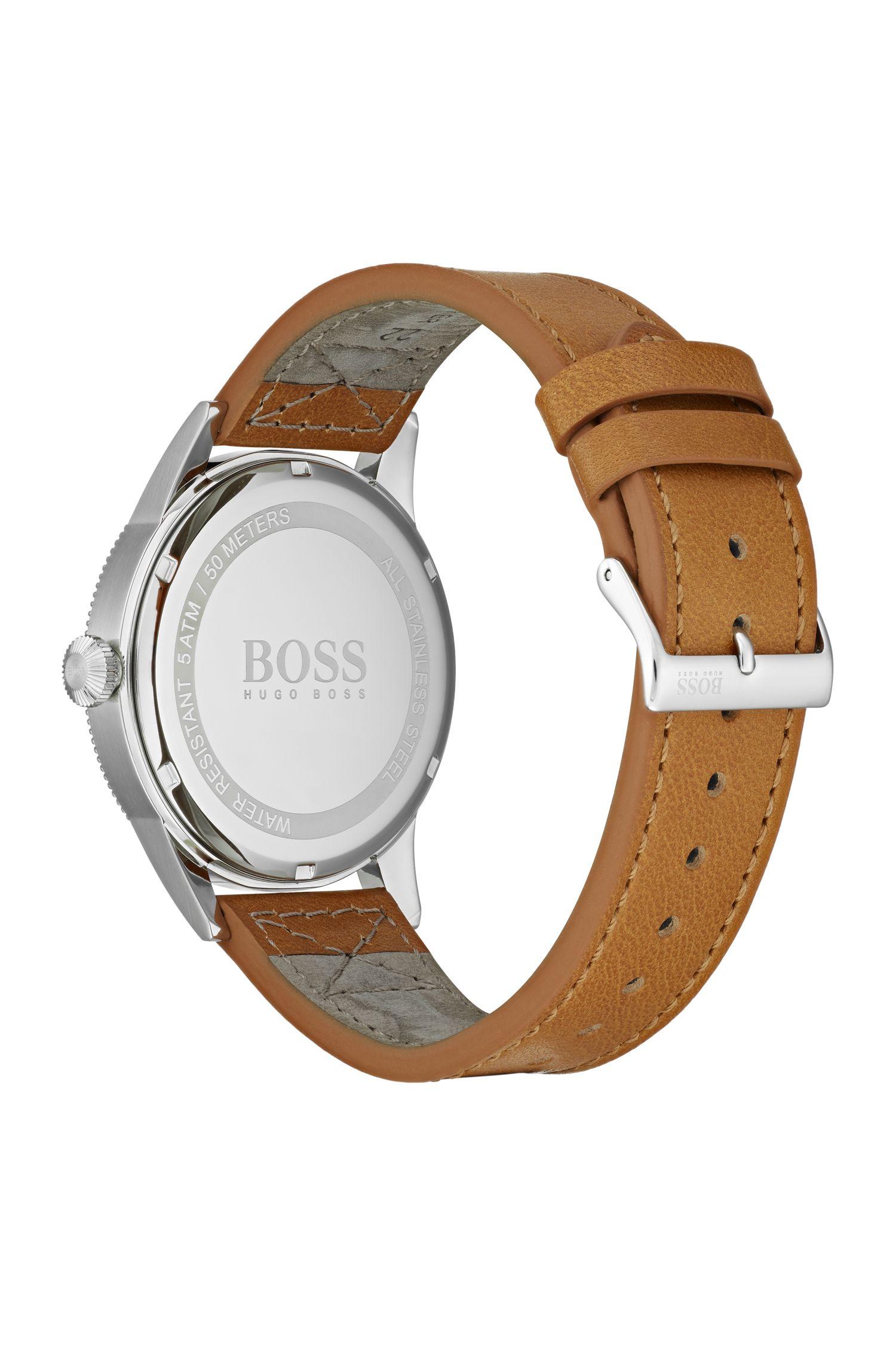 Horloge met blauwe wijzerplaat, getextureerde lunette en polsband van bruin leer, Bruin