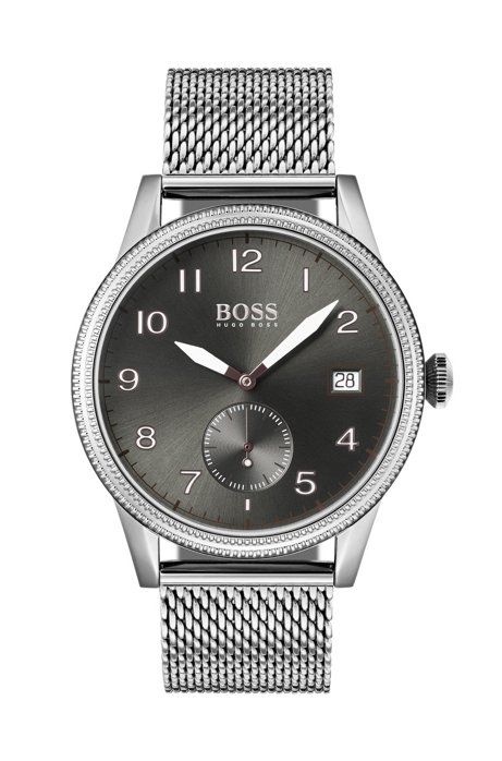 Textured bezel watch with stainless-steel mesh bracelet, Silver