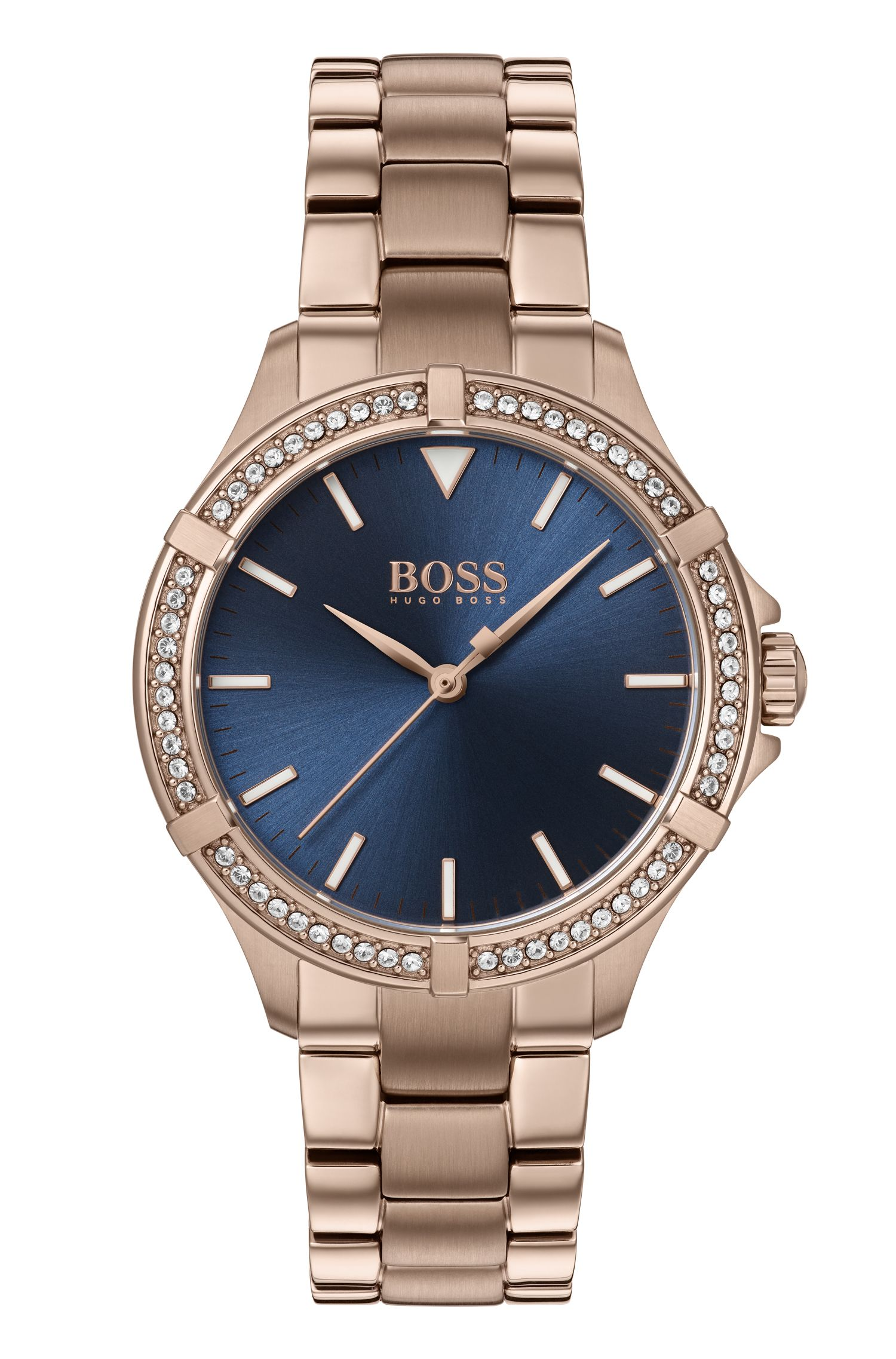 Carnation-gold-plated watch with crystal-trimmed bezel, Gold
