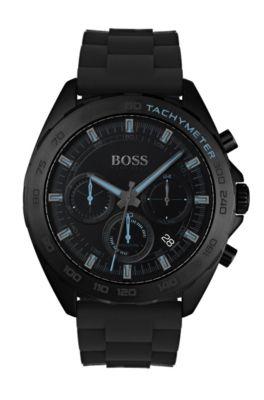 Uhr aus schwarz beschichtetem Edelstahl mit lumineszierenden Details und Silikonarmband, Schwarz