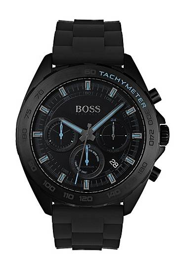 Boss Black-plated watch with luminescent details and silicone strap