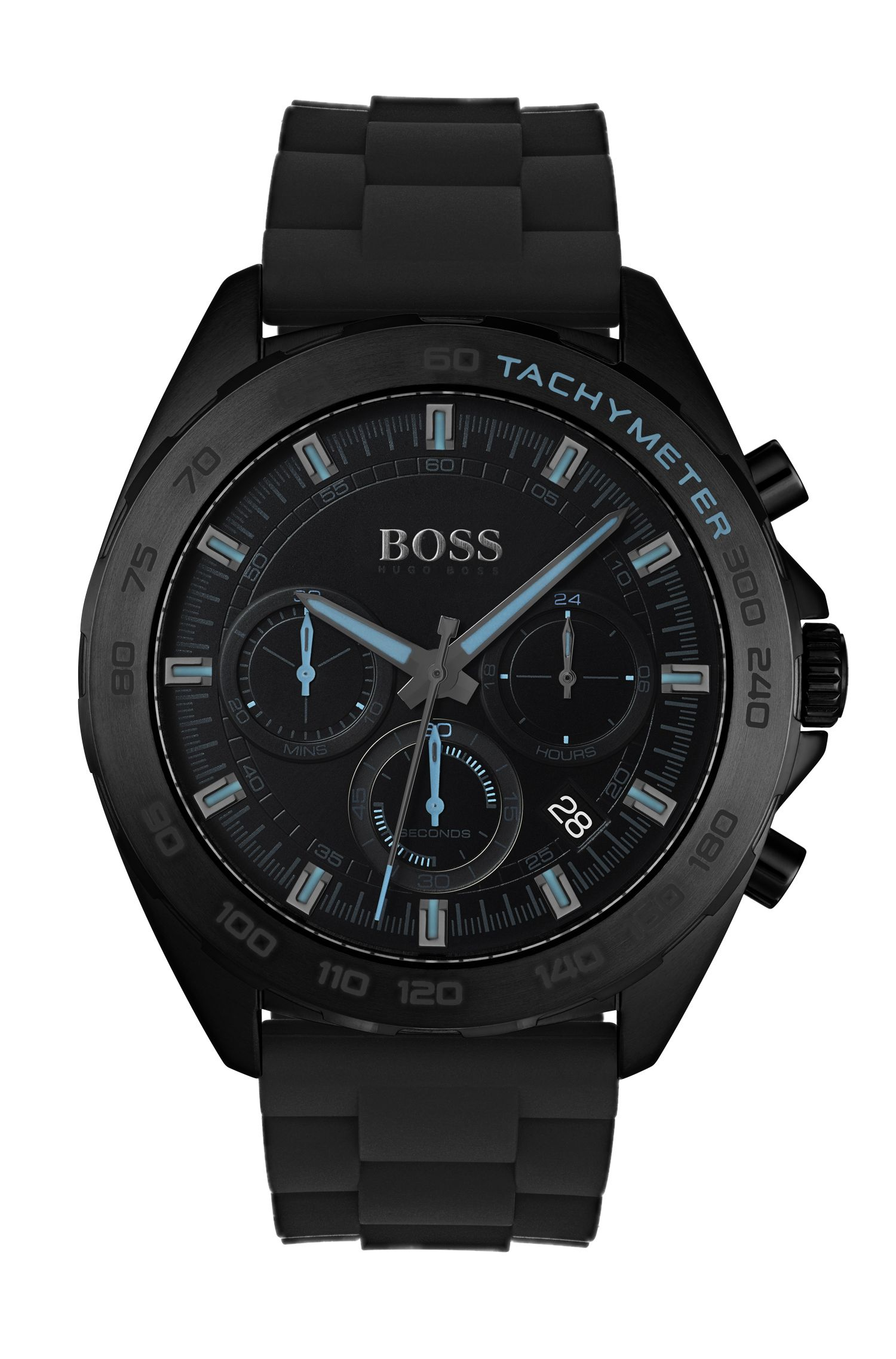 Black-plated watch with luminescent details and silicone strap, Black