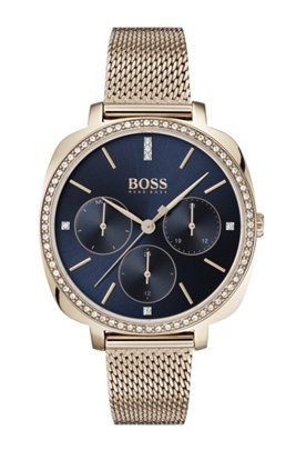Carnation-gold-plated crystal-trimmed watch with mesh bracelet, Gold