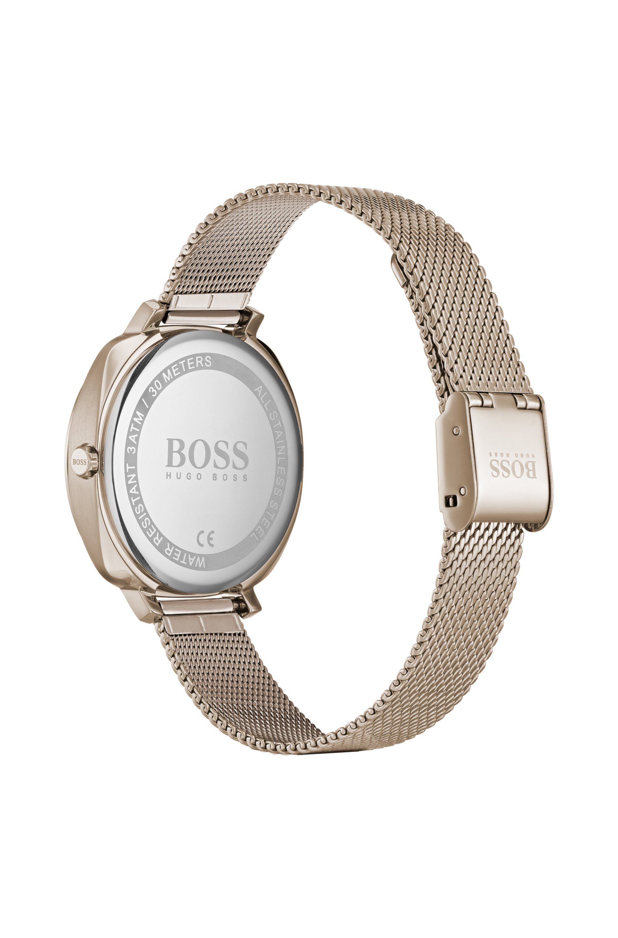 Carnation-gold-plated crystal-trimmed watch with mesh bracelet