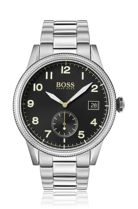 Stainless-steel watch with textured bezel and link strap, Silver