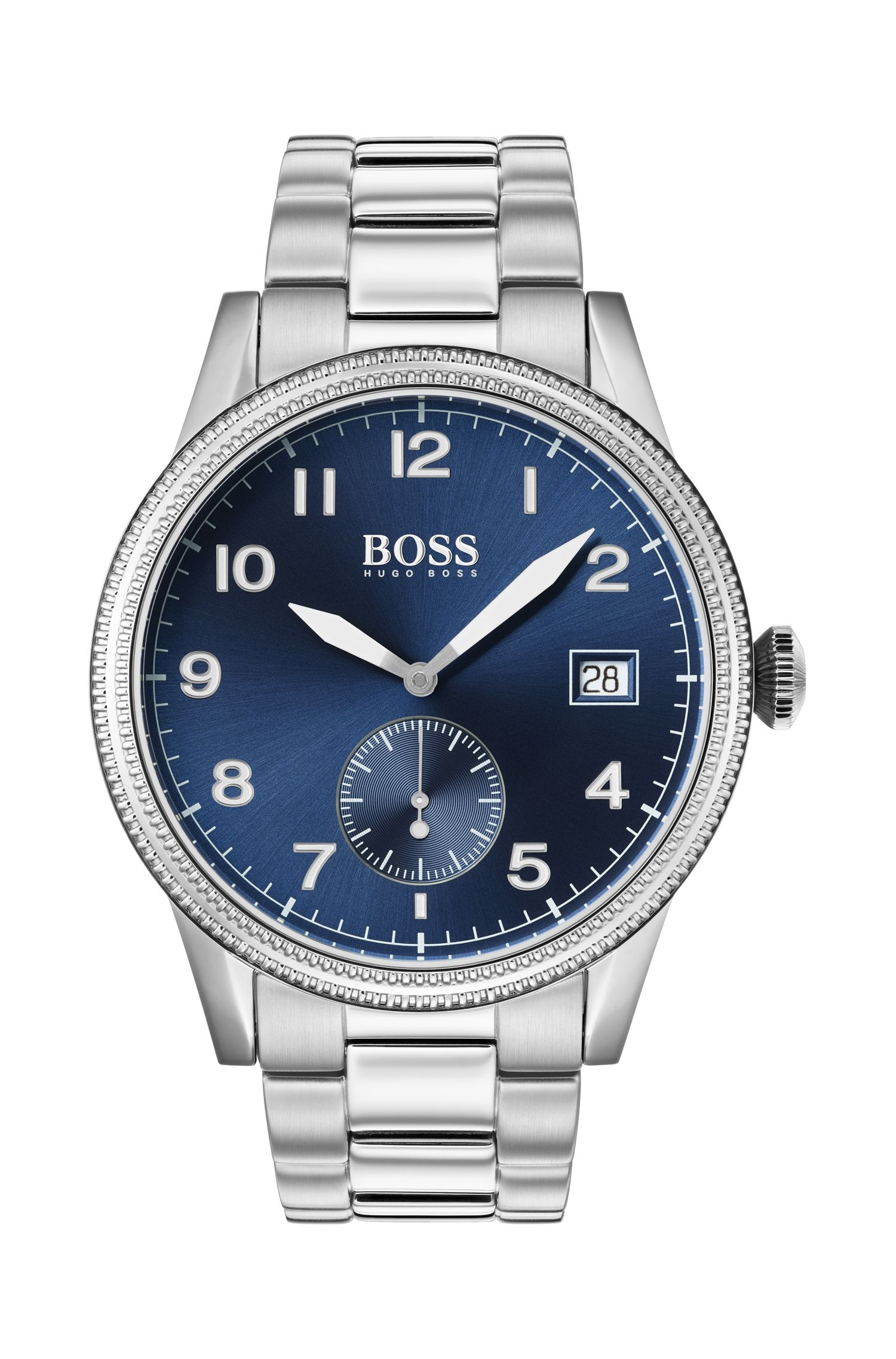 Blue-dial watch with textured bezel and link strap, Silver