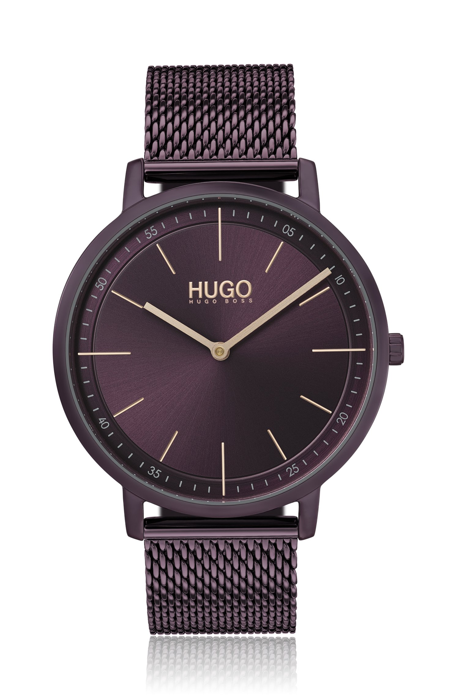 Purple-plated stainless-steel watch with mesh bracelet, Dark Blue