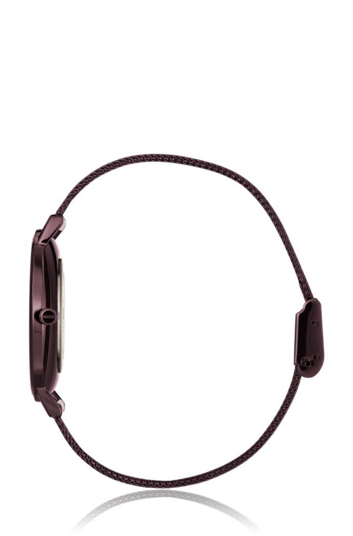 Paars gecoat roestvrijstalen horloge met polsband in meshstructuur