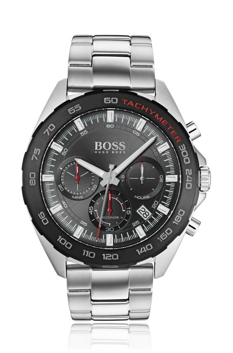 Chronograph watch with integrated tachymeter and link strap, Silver