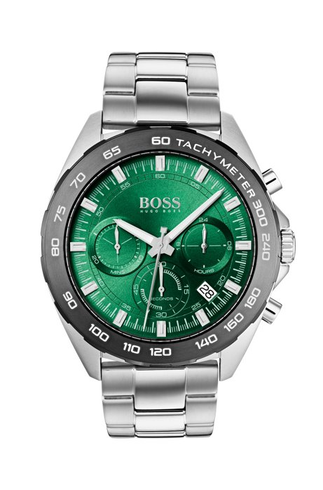 Stainless-steel green-dial watch with luminescent details, Silver